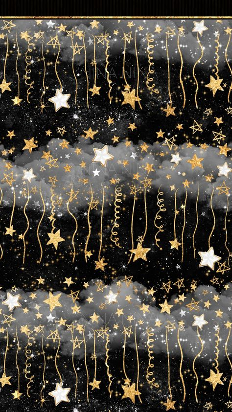 Stars Digital Papers, Gold Glitter Seamless Pattern, Black and White Night Sky Overlay, Watercolor G
