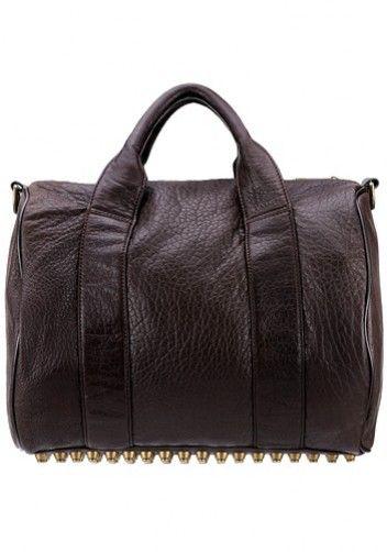 Alexa Studded Calfskin Leather Bag Chocolate  631d1ab4558d4