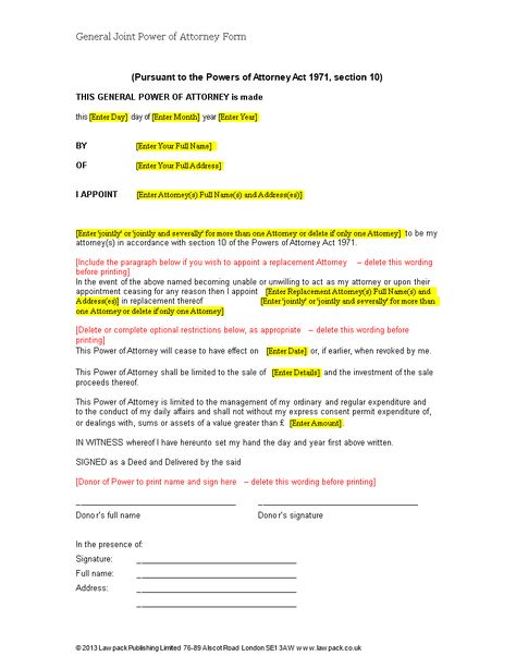 Sample General Power Of Attorney Form Liability Waiver Form
