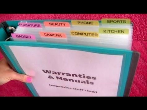 [VIDEO] How to Organize Warranties, Manuals & Receipts - I have been following Alejandra's advice, and I made some of these binders! It feels so good to have everything in one central place. All I have left to do is label!