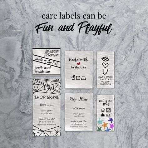 CARE Labels - for sewing - custom, text, size - Clothing Labels - Satin Ribbon - Heat Sealed Edges - R A G A D E M A L I O N