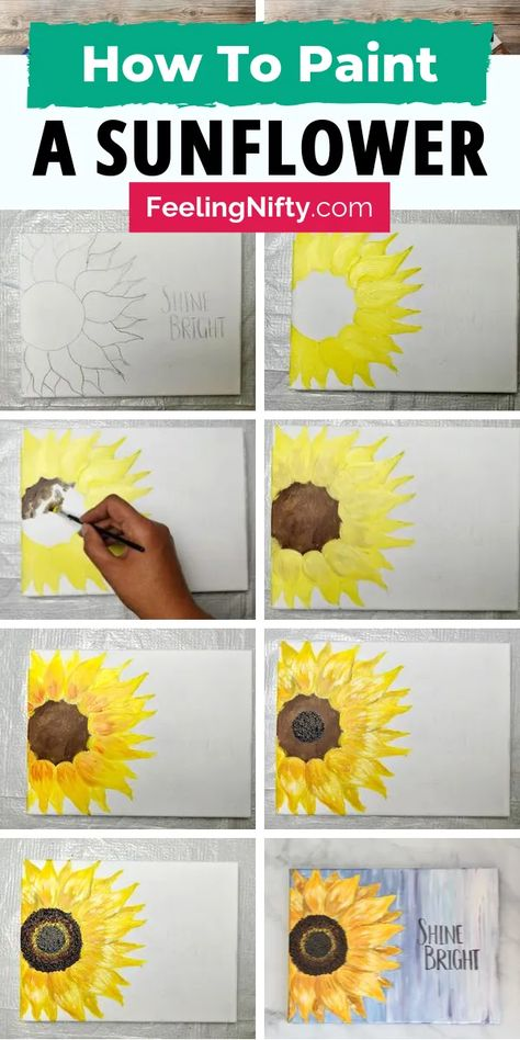Learn how to paint sunflowers with this easy step by step tutorial. Use Acrylic paints to create this simple  DIY flower painting on wood or canvas (small or big). You'll first learn how to draw a sunflower by tracing it- then paint in the abstract sunflower. Add a inspirational quote to compete your painting. #sunflower #sunflowerPainting #easyPainting #flowerPainting #flowerPower #acrylicPainting #art #diyArt #painting