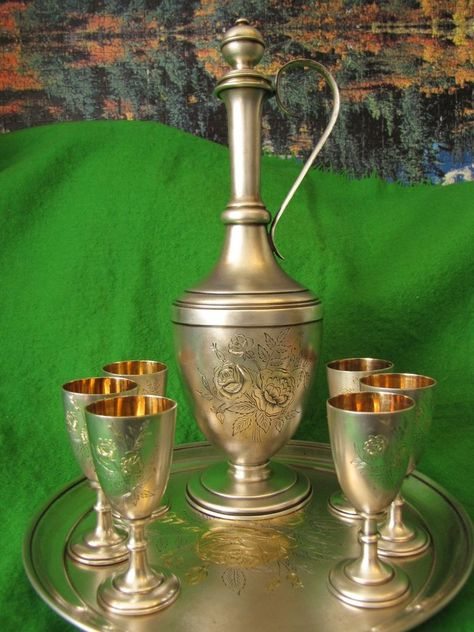 Russia USSR Bar Set Vodka silver 875 MJF 662 g gold plated strong alcohol liquor #MoscowJewelryFactoryMJF