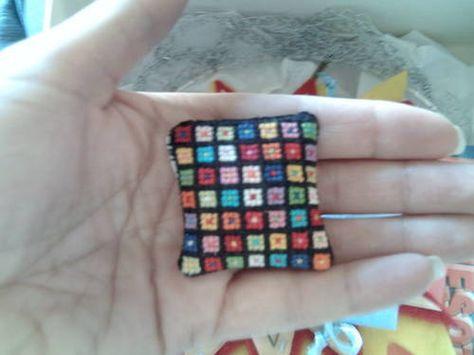 miniature cross stitch pillow from Terribly Important SOB swap - partner silentblair