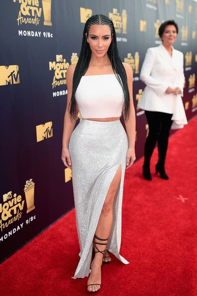 TV personality Kim Kardashian (L) and Kris Jenner attend the 2018 MTV Movie And TV Awards at Barker Hangar.