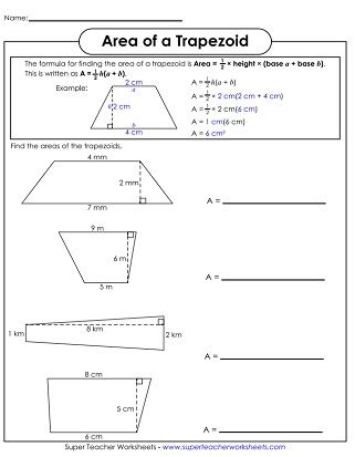 Area Of Trapezoids Printable Area Perimeter Area