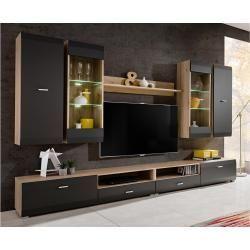 Stylefy Mosel Wohnwand Anbauwand Sanremo Eiche Graphit Matt In 2020 Living Room Tv Tv Room Design Tv Wall Design