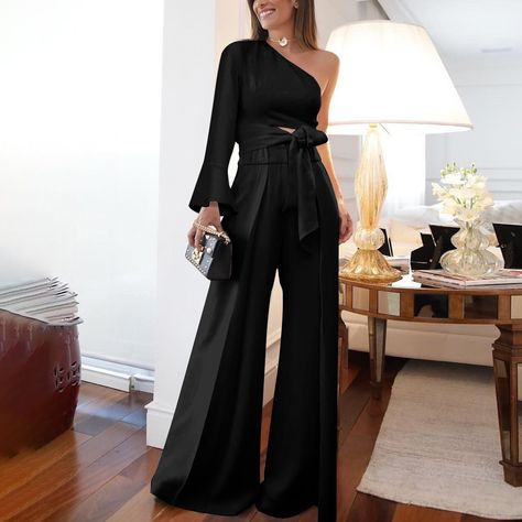 Product Fashion Pure Colour   Off-shoulder jumpsuit Brand Name Bioopo SKU ins38EFA1FD51B9 Gender Women Style Elegant /Fashion/Modern Type jumpsuit Material Polyester Fiber Decoration Pure Colour Please   Note: All dimensions are measured manually with a deviation of 1 to 3cm Click the Picture to Pants>>