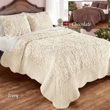 Elegant Ultra Soft Faux Fur Plush Quilt Bedding With Scalloped Edges And Scroll And Lattice Patterns Full Queen Ivory Walmart Com Quilt Bedding Bedroom Makeover Lattice Pattern