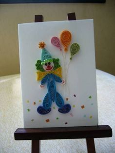 Clown with Balloons - by: Quilled Creations.com