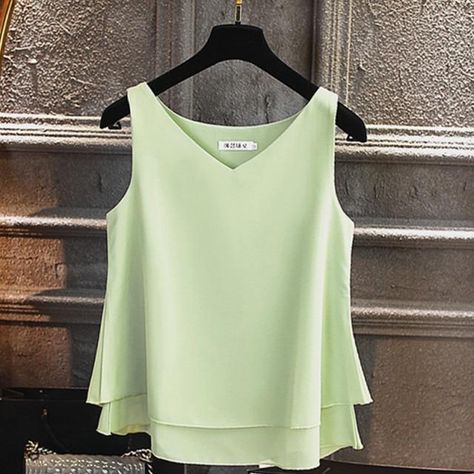 2021 Fashion Brand Women's blouse Tops Summer sleeveless Chiffon shirt Solid V-neck Casual blouse Plus Size 5XL Loose Female Top - Leather green / M