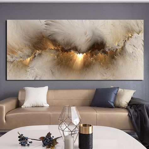 Wangart grey yellow Cloud Abstract Oil Painting Think Independe Wall Picture For Living Room Canvas Modern Art Poster And Print - 70x160cm  Unframed / jy1724
