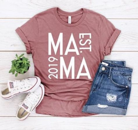 Mama Shirt/ Established as a Mama/ Mom Clothes Mom T Shirts, Club Shirts, Funny Tee Shirts, Cute Tshirts, Summer Shirts, Mom Clothes, Bleach Shirts, Vinyl Shirts, Mama Shirt