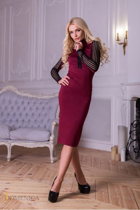 платье миди с длинным рукавом облегающее купить