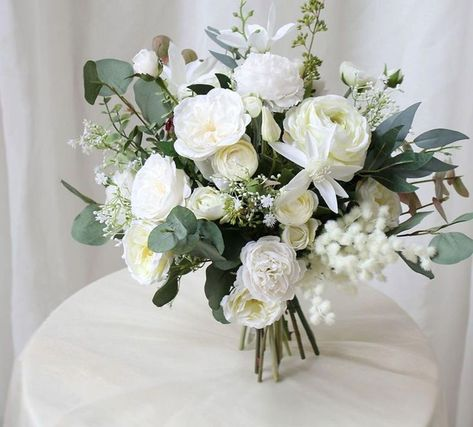 Silk Wedding Bouquets, Silk Flower Bouquets, Bridal Flowers, Flower Bouquet Wedding, Silk Flowers, White Rose Bouquet, Bridesmaid Bouquet White, White Bouquets, Bridal Bouquet White