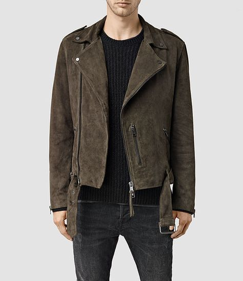 Buy AllSaints Takeo Suede Biker Jacket, Khaki Brown from our Men's Coats & Jackets range at John Lewis & Partners.