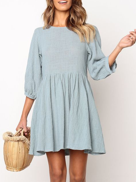 Fashion Round Neck Pure Colour Halflong Sleeve Mini Dresses