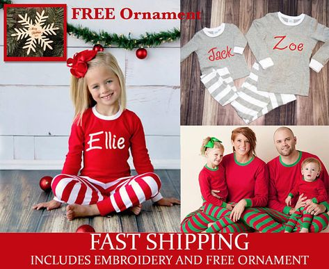 6283fdd0b4 Monogrammed Christmas pajamas personalized for the whole family including newborn  Christmas Gowns. Get ready for Christmas Card Photos