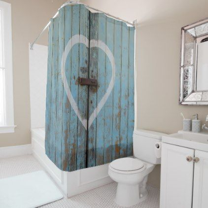 Rustic Country Blue Barn Door Heart Shower Curtain Zazzle Com