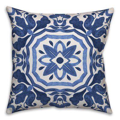 World Menagerie Hubbert Watercolor Damask Tile Throw Pillow Wayfair Blue Outdoor Pillows Blue Throw Pillows Beige Throw Pillows