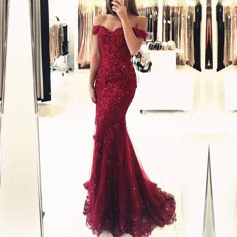 3af0f36d65cf Off The Shoulder Lace Mermaid Prom Dresses 2019 Elegant Evening Gowns –  alinanova