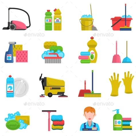 Cleaning icons set with mop soap and gloves flat isolated vector illustration. Editable EPS and Render in JPG format