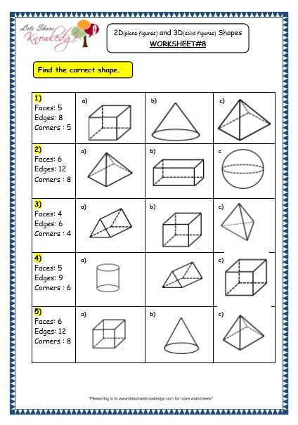 Grade 3 Maths Worksheets 14 3 Geometry 2d Plane Figures And 3d Solid Figures Shapes Geometry Worksheets Shapes Worksheets Shapes Worksheet Kindergarten