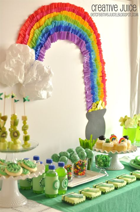Crepe paper rainbow-- Rainbow party ideas