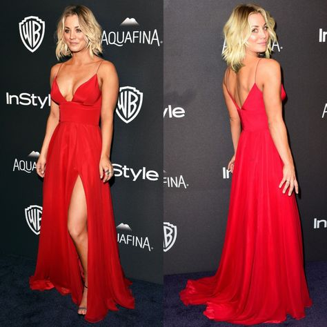 Kaley Cuoco Red Evening Gown 2016 Golden Globe Awards Post-Party Dress