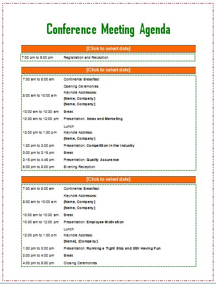 Meeting agenda template from Word Templates Online Business - conference planner template