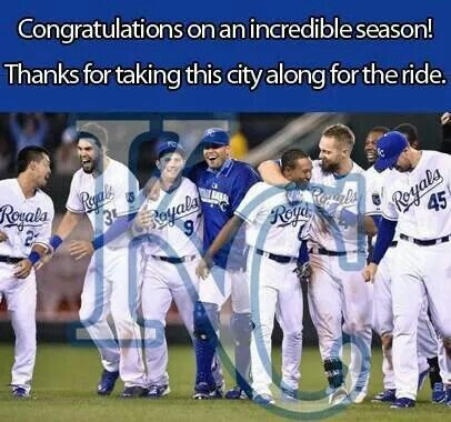 2014 American League Champs,  although we went all the way to the 7th game of the World Series, lost 3-2 to the SF Giants.  Congrats Giants, and way to go Royals - we're SO proud of you!
