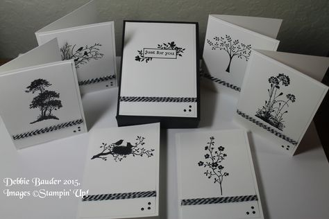 6 note cards & gift box. Images © SU stamp sets: Just Believe, Thoughts & Prayers, Morning Meadow, Serene Silhouettes & World of Dreams. Stamped with StazOn. Used clear EP, black & white twine, nail heads. Idea from Pootles Uk, I just used different images.