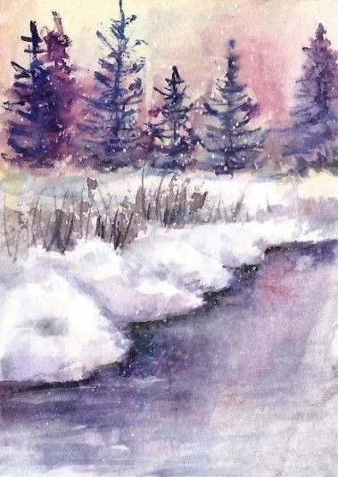 Aceo Original Snow Painting River Woodland Winter Landscape