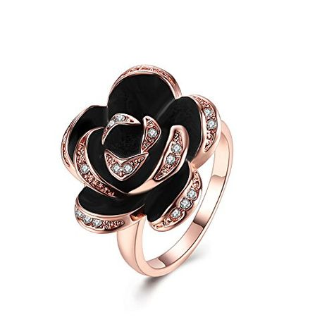 fe6fbf425 LuckyWeng Women's New Exquisite Fashion Jewelry Hot Sale Rose Gold Rose  Diamond Zircon Ring