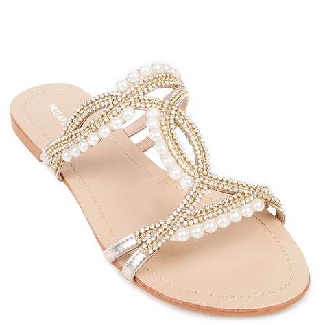 77b78fe173c567 Gold embellished slide flat sandal with decorative rhinestones and pearls.