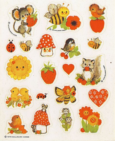 These are from my personal collection of stickers.) Anyhow, this page is from 1979 and was sold by Hallmark. I especially like the pussywillows! Vintage Cards, Vintage Toys, Vintage Images, My Childhood Memories, Wall Collage, Kitsch, Art Inspo, Ephemera, Cool Art