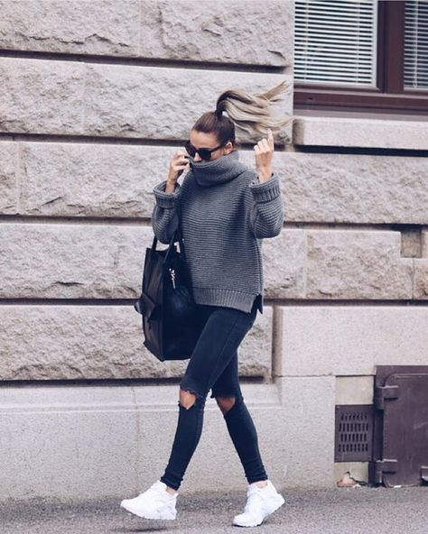Have:black jeans (not riped) Need: oversized grey turtleneck, white sneakers