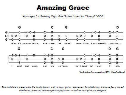 Amazing Grace With Chords Tablature Pdf Cigar Box Guitar Box
