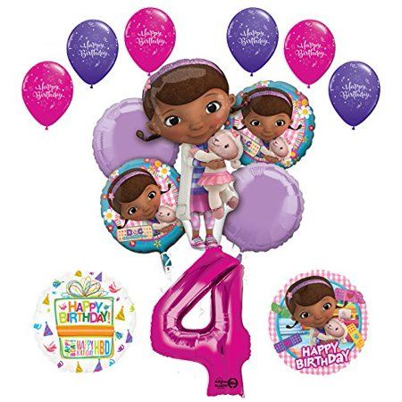 Doc Mcstuffins 4th Birthday Party Supplies And Balloon Bouquet Decorations Walmart Com 1st Birthday Party Supplies Doc Mcstuffins Birthday Doc Mcstuffins Birthday Party