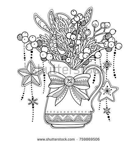 Magic Christmas New Year Composition In Doodle Style Floral Ornate Tribal Decor Design Elements Black And White Backgroun Cherno Beloe Grafika Illyustracii