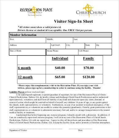 13 Office Visitor Form Templates Sign In Sheet Template Sign
