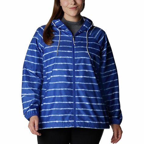 Plus Size Columbia Side Hill Print Hood Packable Windbreaker Jacket, Women's, Size: 3XL, Blue