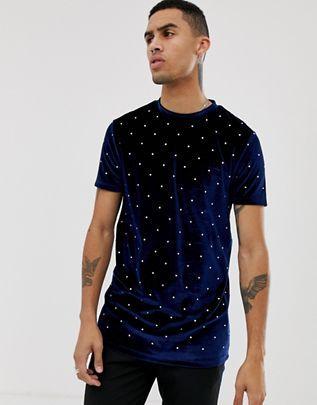 Larga Design Con En De Toda La Asos Prenda Camiseta Gemas Velour QBrdoWCex