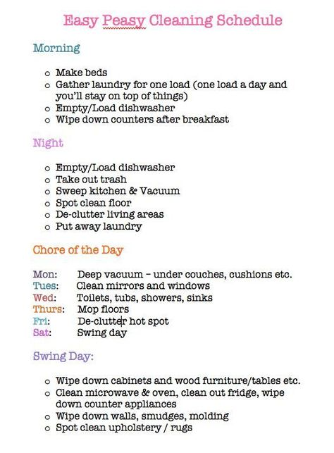 Cleaning schedule for working moms - Visit my Store @ https://www.spreesy.com/emmaperry