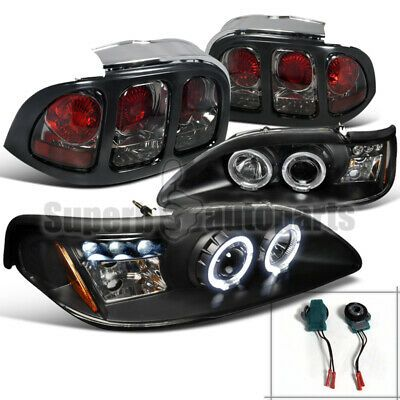 For 1994 1998 Ford Mustang Led Halo Projector Headlights Black Tail Lamps Smoke In 2020 Projector Headlights Led Halos Ford Mustang