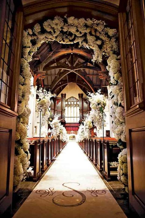 If we decide on a church instead of outdoors, this is what I would want... Almost. Just change the runner to have our names or initials. Gorgeous ♡