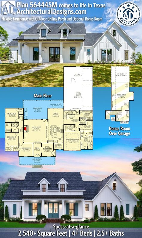 Architectural Designs Country Farmhouse Home Plans 56444SM   Featuring 2540 square feet, 4 or 5  bedrooms, 2.5+ bathrooms - Open floor plan - 12' ceiling in Great Room - Luxurious master suite - Bonus Room - Outdoor entertaining space with BBQ Deck / Outdoor kitchen - Three car garage - Oversized Laundry Room - Huge kitchen with island and walk-in Pantry. Mudroom off garage, master on main, house planning, 4-bed floor plans. Build your house with building plans from Architectural Designs
