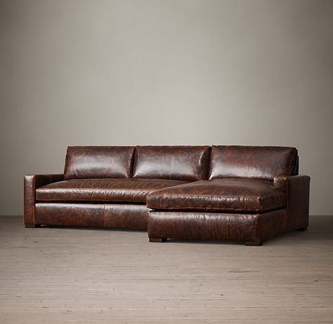 Petite Maxwell Leather Right Arm Chaise Sectional | Design
