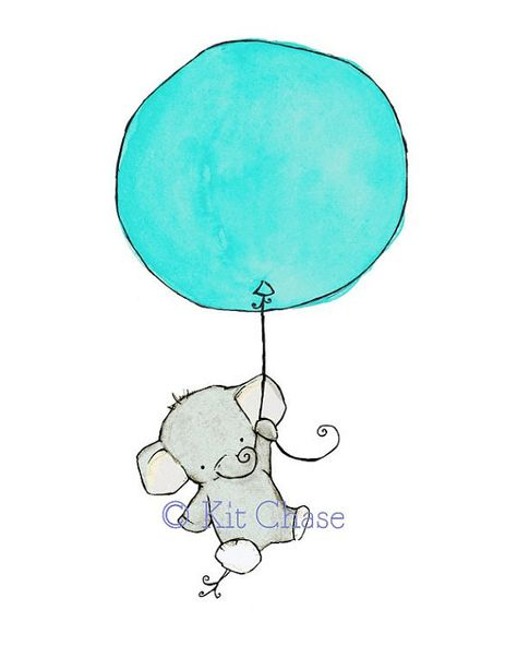 I've known for a while that I wanted a blue & yellow elephant nursery so I was excited to find this whimsical print.  Hoping the blue of the balloon IRL works with our light blue nursing chair.