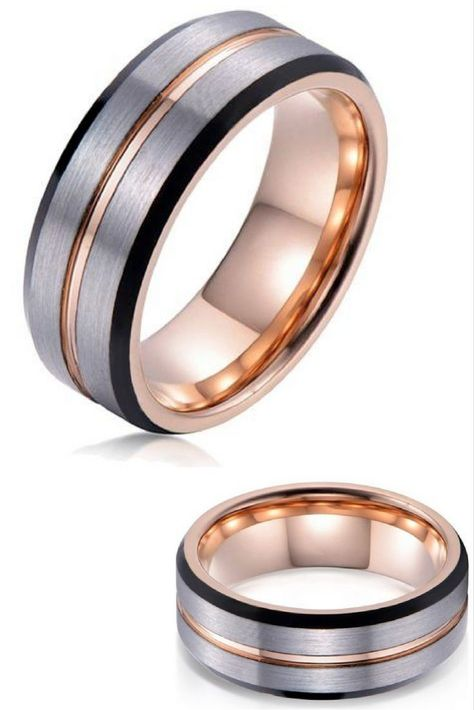 Mens 8mm Tungsten Carbide Wedding Ring With Brushed Top Polished